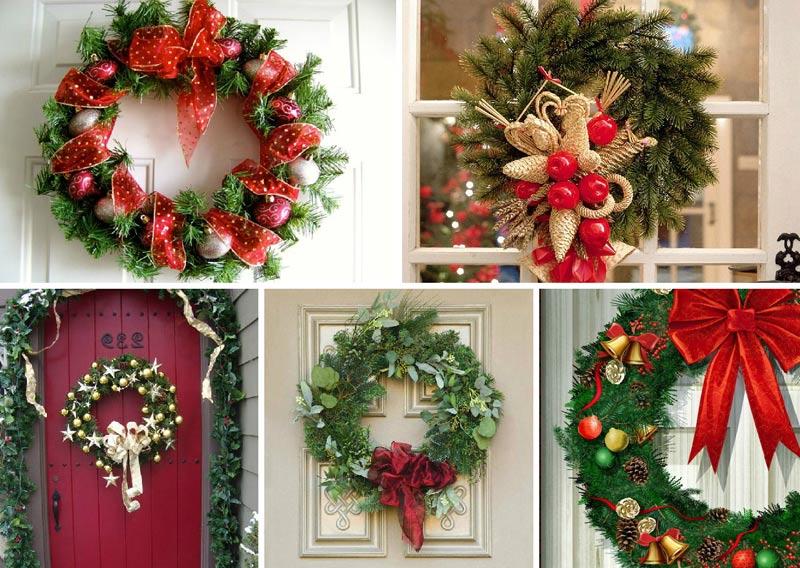 Как можно красиво украсить входную дверь к Новому году своими руками